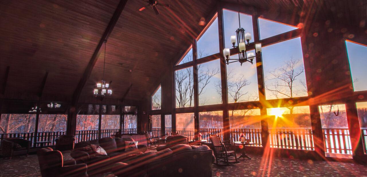 Sun shining into main cabin lobby at sunset