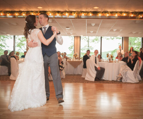 Couple dancing at a wedding reception