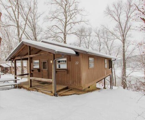 Burr Oak cabin in the winter