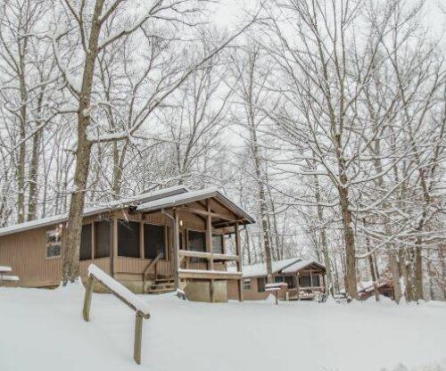 Burr Oak cabin exterior in winter