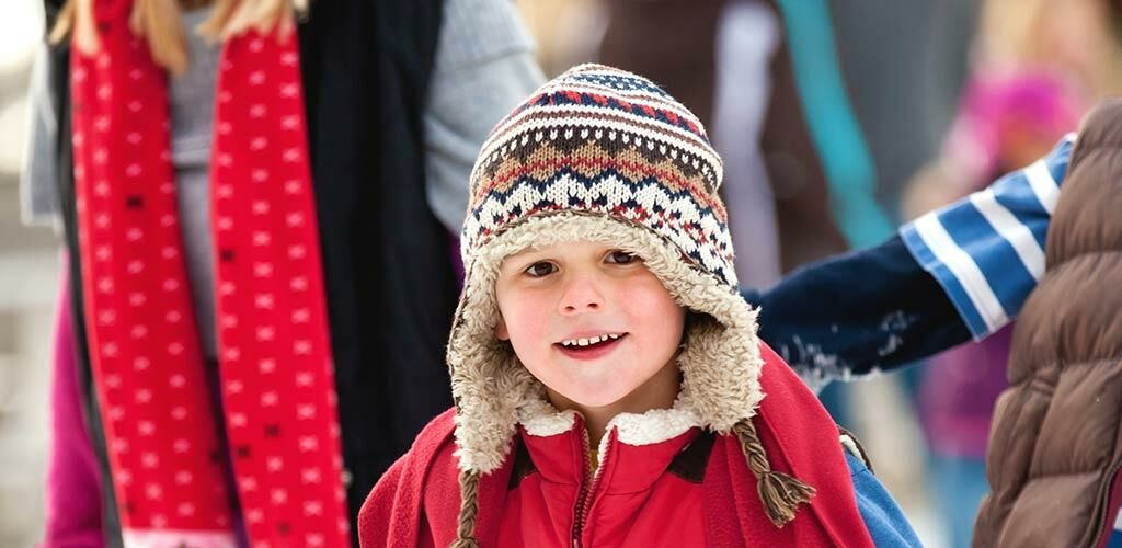 Girl outside during winter